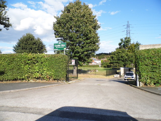 The entrance to Coates Way JMI school, Garston