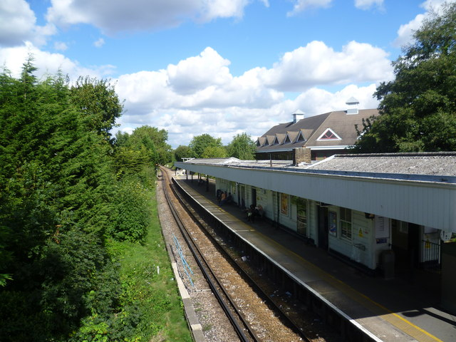 View from a footbridge at Motspur Park station