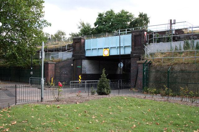 Acton Green:  Railway bridge over Fisher Lane