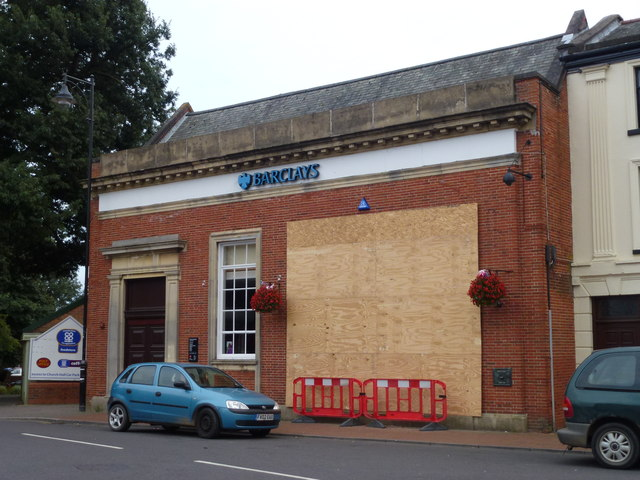 Hole in the wall at Barclays Bank, Long Sutton