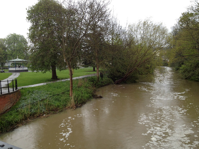 River Leam in spate, 1 May 2012 (1 of 2)