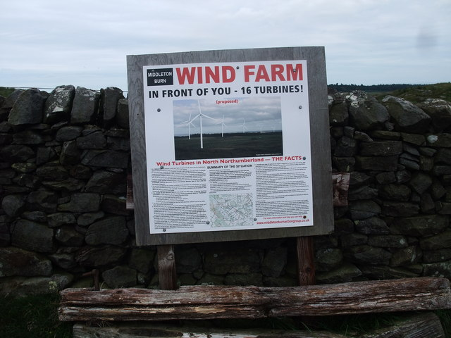Protest sign against wind turbines at Middleton Burn