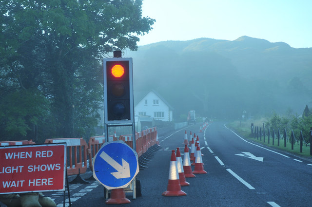 Roadworks on the A816 at Kilmore