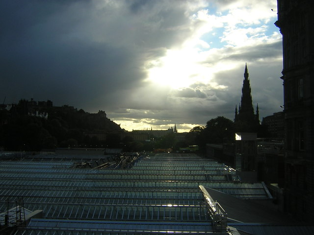 Edinburgh: Waverley station roofs from North Bridge