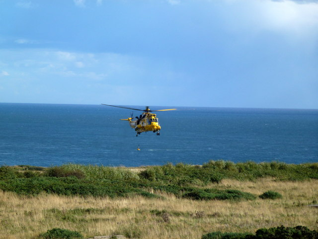 Air-Sea Rescue helicopter at work near Flamborough Head