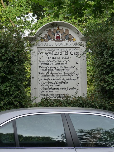 Tollgate charges, Dulwich