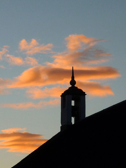 Kirkmichael Church bell tower and dusk sky