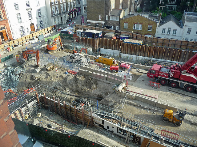 Crossrail construction, Davies Street