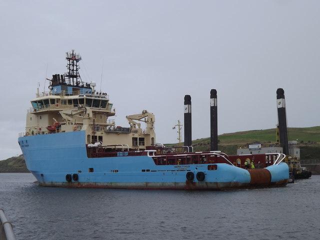 Maersk Tender Leaving Aberdeen Harbour