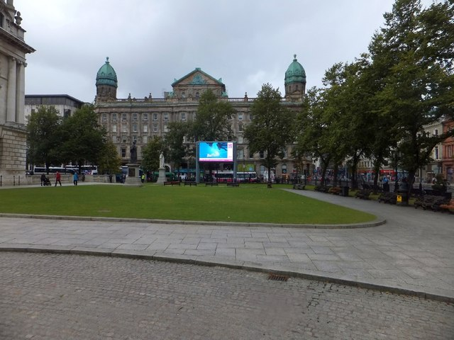 Large screen TV in grounds of Belfast City Hall