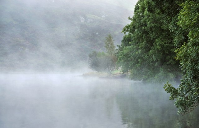 Shoreline of Loch Nell in the mist