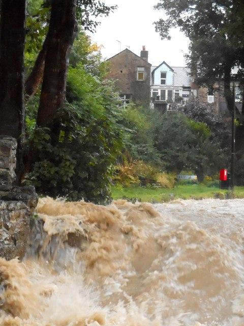 Cored ar Afon Colwyn yn ystod glaw trwm / Weir on Afon Colwyn during heavy rain