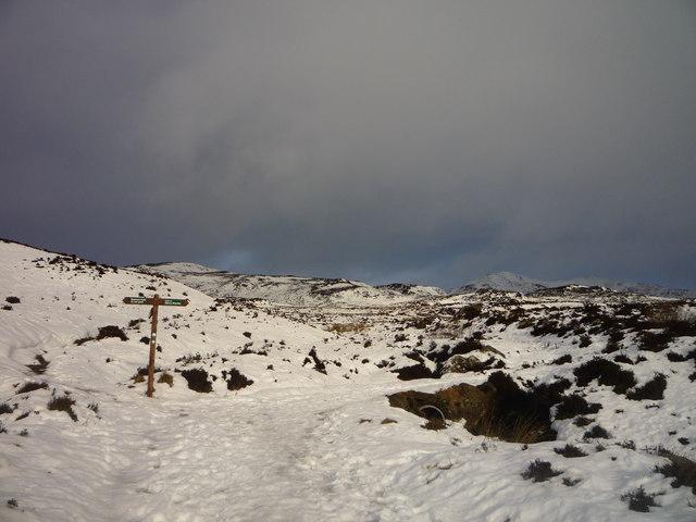 Path junction below Ben Vrackie