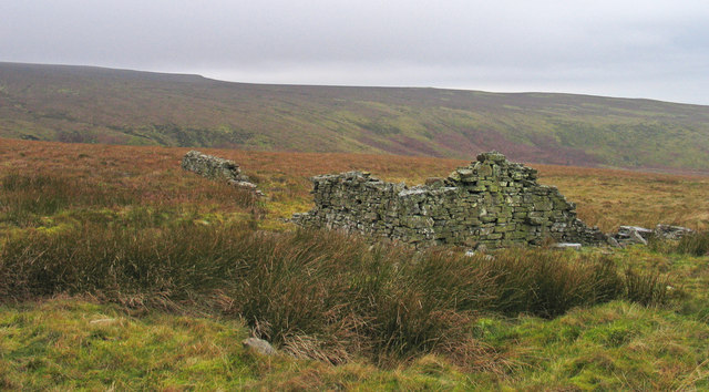 Ruined walls on slope of Cold Fell