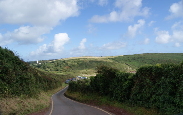 Road down to Manorbier Beach