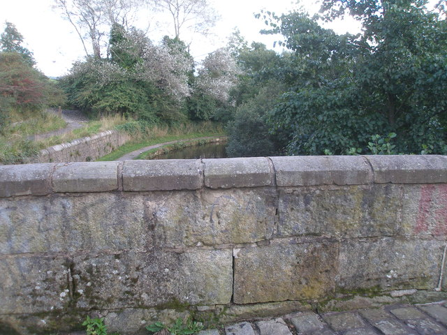 Benchmark on the parapet of bridge 71, Rochdale Canal