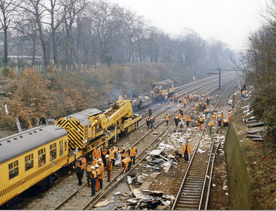 TQ2775 : Clearing up after the December 1988 crash west of Clapham Junction by Ben Brooksbank