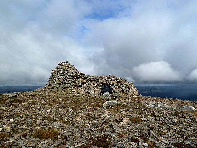 The summit cairn of Meall a' Bhuachaille