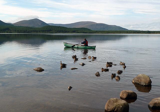 A canoeist on Loch Morlich