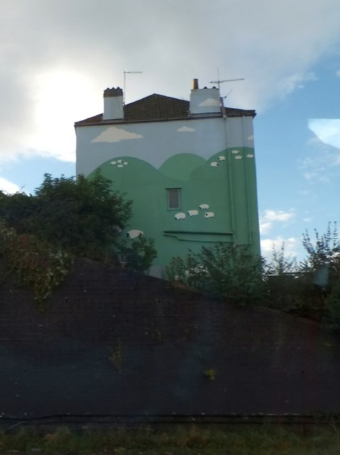 Mural of sheep on house by Victoria Park