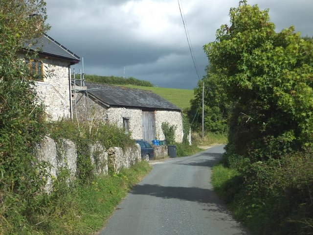 Stone barn beside road at Stockham Farm