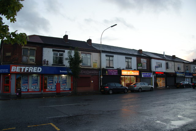 Row of shops on Bolton Road, Swinton