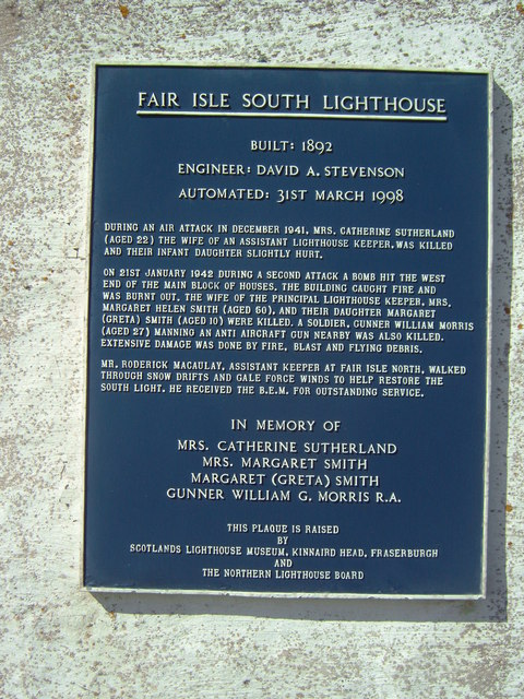 Fair Isle South: memorial plaque