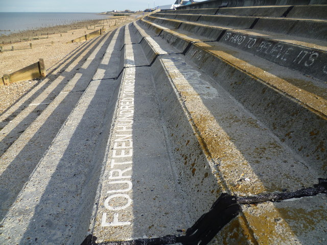 Wording on the seafront steps at Sheerness