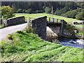 SH7951 : Bridge across Afon Machno and barn by Richard Hoare