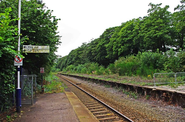 Railway line to the west seen from Lytham Railway Station, Station Square, Lytham