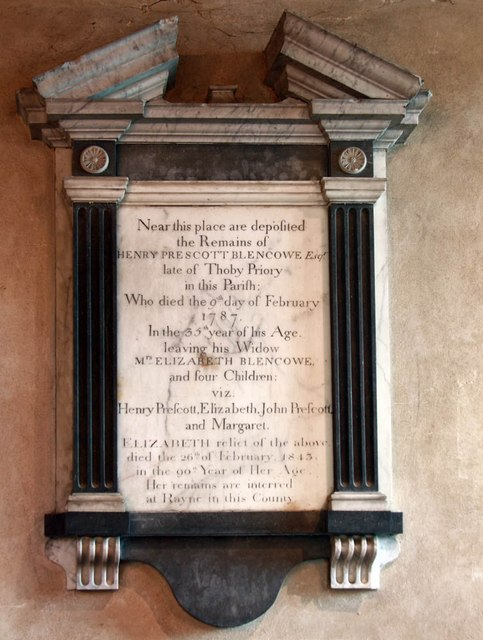 St Giles, Mountnessing - Wall monument