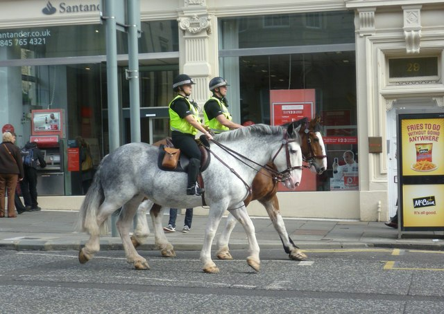 Mounted police in Hanover Street