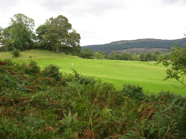 A peek over the hedge to Killin golf course