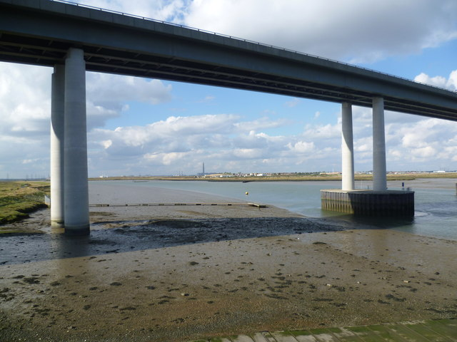 The Sheppey Crossing from the approach to Kingsnorth Bridge