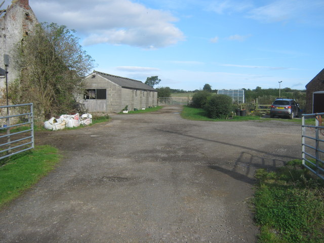 Footpath passing the outbuildings at Sockburn Farm