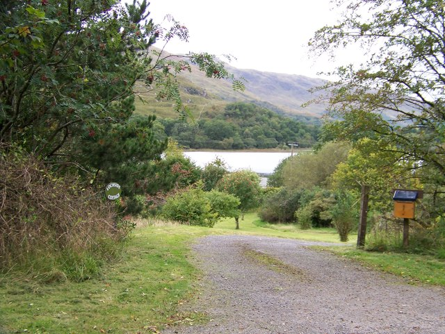 A glimpse of Loch Baile Mhic Chaillein at the entrance to Lochside Cottage