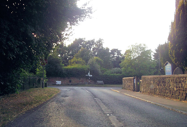 Road junction by Swanbourne church