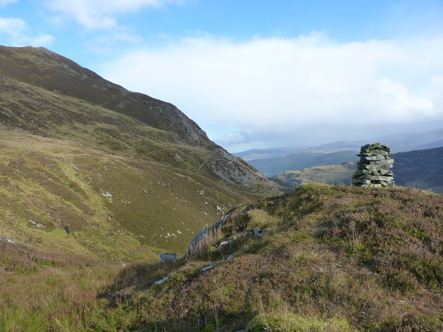 Cairn on the hillside high above Glen Lyon