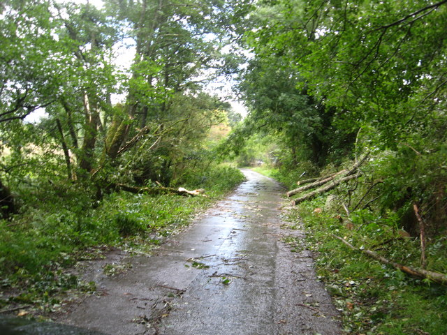 The village road heading south to the B846