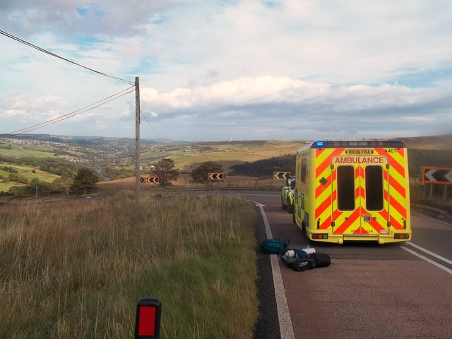 Emergency Services on Woodhead Road near Holme