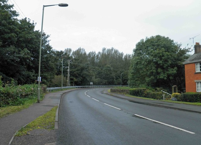 Bend on A373 near junction 28 M5 motorway