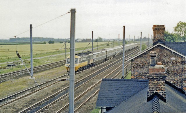 Site of Copmanthorpe station, with Up High Speed Train, 1988