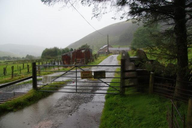 Track in the rain in Dyffryn Castell