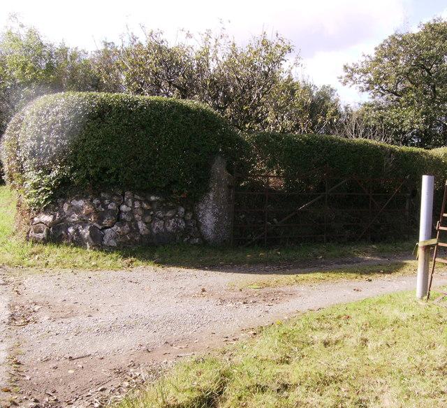 Stone gate post at Rhosnewydd