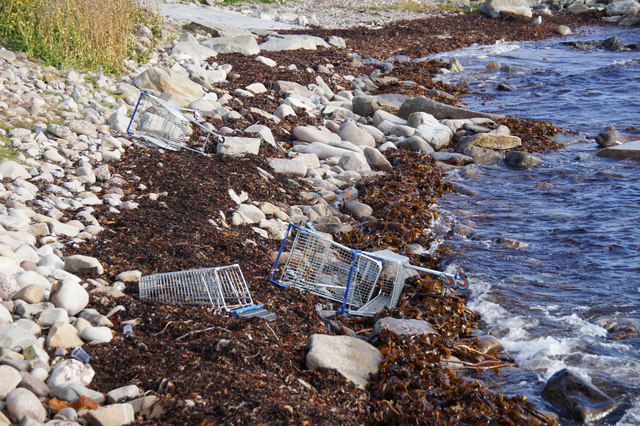 Shopping trolleys on the shore, Seafield, Lerwick