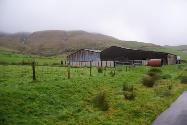 Farm buildings in Dyffryn Castell