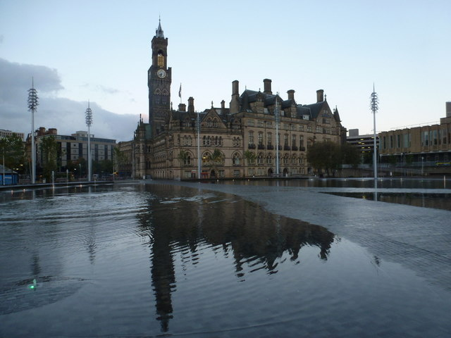 Bradford: City Hall from across Centenary Square