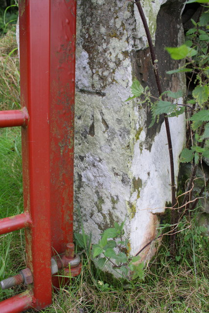 Benchmark on gatepost of gateway on Sowden Beck Road