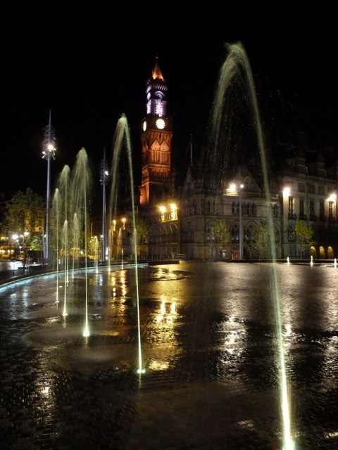 Bradford: view through the Centenary Square fountains