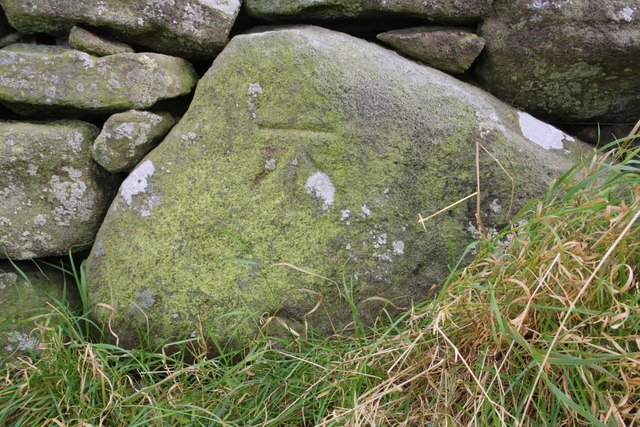 Benchmark on stone in wall beside Sowden Beck Road